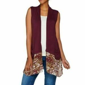 LOGO by Lori Goldstein Knit Vest Printed Trim